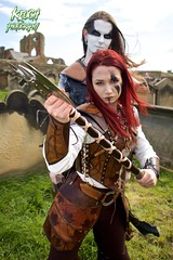 IMG_9404 (Neil Keogh Photography) Tags: red brown white black abbey graveyard leather silver cross gothic goth blouse crucifix axe trousers warrior facepaint viking armour gravestones waistcoat steampunk whitbyabbey whitbygothweekend armguards shoulderguards april2016