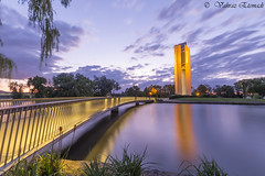 Nightshot from National Carillon (vahraz) Tags: longexposure nightphotography sunset sky lake sunrise skyscape landscape lights nightscape ngc canberra austarlia ndfilters canon6d