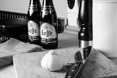 Leffe in the Kitchen (SLX_Image) Tags: blackandwhite bw cooking nikon knife leffe softbox zwilling nikon50mmf18 d7000