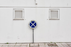 'Sophistry' No. 2 (Canadapt) Tags: blue windows white portugal sign wall cross graphic sidewalk metaphor loures canadapt