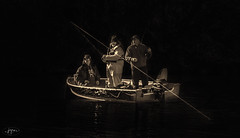 DSC_0734aFAA (john.cote58) Tags: people blackandwhite lake men water sepia standing outside outdoors design boat clothing fishing sitting interior hats tint monotone line tub rod motor dressed outboard reel