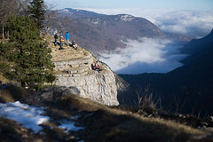 Viewpoint (pass_the_popcorn) Tags: wood winter cliff sun sunlight snow mountains nature clouds forest switzerland photographer hiking tourists jura valley hikers viewpoint swissmountains popcornphotography creuxducan