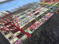Detail einer Mixed-Collage (Blog - hehocra) Tags: fotografie papier bunt sticken faden fäden kreuzstich bestickt nähte gestickt