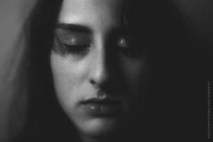 Eyes wide shut (Gutterflower Images) Tags: portrait blackandwhite woman art monochrome face lensbaby sleep fineart haunting enigmatic canon5dmkiii