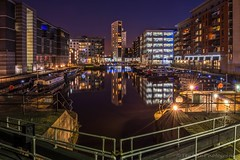 Clarence Dock at Night (jasonmgabriel) Tags: city reflection building tower water night skyscraper canal dock cityscape lock leeds barge