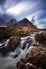 Buachaille (Tony N.) Tags: longexposure trees bw mountains clouds river scotland highlands rocks europe glen arbres glencoe nuages buachaille rochers vanguard montagnes etive glenetive ecosse fil buachailleetivemor poselongue d810 nd110 coupall nikkor1635f4 coupallriver