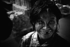 The Disturbed (Richard Balonglong) Tags: old blackandwhite woman smile happy teeth philippines joy streetphotography elderly grin baguio disturbed wrinkles mental bustedteeth