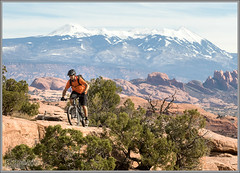 Mountain Biking Magnificent 7 (Photo-John) Tags: mountains southwest fall sports bike canon eos cycling utah desert outdoor mountainbike adventure 7d editorial moab southernutah redrock slickrock mountainbiking pedal enduro stockphoto stockphotography lasals magnificent7 mag7 7dmkii 7dmarkii