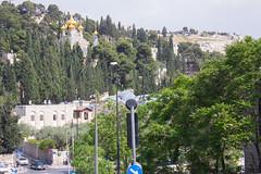 Mary Magdalene Church and the View Leading Toward It, May 13, 2015 (marylea) Tags: church architecture israel jerusalem may13 oldcity byzantine cedars mountofolives russianorthodox 2015 churchofmarymagdalene antoniobarluzzi