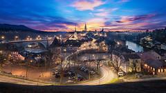 City of Bern (pixadeleon) Tags: city longexposure blue sunset switzerland cityscape hour bern lighttrails altstadt aare untertorbrücke aargauerstalden challengegamewinner