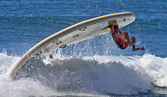 Horror Scope (coqrico) Tags: ocean sea man male hawaii surf hand pacific upsidedown oahu scope rico disaster horror hanging fin horoscope flipper sup forecast prediction omen makaha overboard predict squatch leffanta supsquatch
