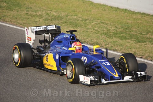Felipe Nasr in his Sauber during Formula One Winter Testing 2016