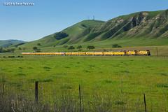 Green Hills at Bradley (samreevesphoto) Tags: california railroad up hills bradley unionpacific oaktrees greenhills salinasvalley varnish passengercars