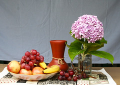 Naturaleza con uvas (leograttoni) Tags: stilllife flower fruit buenosaires interior flor fruta bodegón vase hydrangea uva hortensia laplata naturalezamuerta jarrón greap naturemortre
