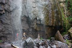 Walking behind waterfall at Springbrook NP (NettyA) Tags: waterfall hiking australia bushwalking qld queensland hikers bushwalk springbrook goldcoasthinterland 2016 springbrooknationalpark scenicrim bushwalkers seqld warriecircuit blackfellowfalls scbwc sonya7r