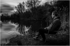 The Waiting Game (andihun65) Tags: longexposure blackandwhite lake water mono kent fishing fisherman naturallight ndfilter leybourne bw110 10stopfilter