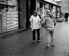 Two Men in Byker - Newcastle (Richard James Palmer) Tags: street new uk portrait england urban blackandwhite white abstract black art 120 mamiya film monochrome newcastle photography trapped shoot gloomy iso400 fineart north streetphotography documentary overcast rangefinder gritty ishootfilm tyne east iso ilfordhp5 400 walkabout epson hp5 medium format analogue melancholy northern northeast ilford f4 isolated upon newcastleupontyne 1125 80mm tyneandwear 2016 v700 mamiya7ii microphen filmisnotdead 7ii ilfordmicrophen epsonperfectionv700