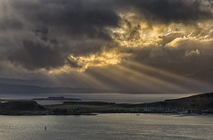 Changeable weather [explored] (chaotic river) Tags: sea clouds island scotland unitedkingdom harbour gb oban bouy sunbeam hdr pro2 efex
