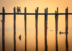 Yellow Bridge (Castelaze_Studio) Tags: wood bridge sunset people orange lake water yellow sunrise river lights fisherman fishermen bein lac pont myanmar teck bois ubein pcheurs birmanie idge