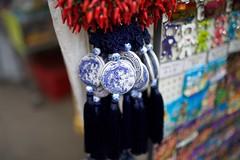 Ladies Market Mong Kok (hj_west) Tags: blue red white ceramic market sale chinese hong kong cantonese kowloon mongkok tassel
