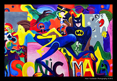 Sonic Malade (1990) - Greta Ida Csatls, East Side Gallery, Berlin (Marc Funkleder Photography) Tags: streetart color berlin art germany deutschland graffiti nikon clown tag berlinwall batman allemagne couleur eastsidegallery berlinermauer artderue d600 murdeberlin 2470mm28 nikond600 mhlenstrase sonicmalade gretaidacsatls