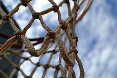 nothing but net (snickoel) Tags: blue sky net basketball nikon outdoor rope d3100