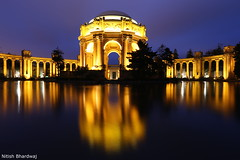 Palace of Fine Arts, San Francisco (Nitish_Bhardwaj) Tags: sanfrancisco california longexposure morning light urban usa reflection building architecture night america canon buildings dawn san exposure unitedstates sfo unitedstatesofamerica earlymorning fran bluehour palaceoffinearts