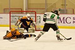 2 on 1 break... (R.A. Killmer) Tags: white green college ice hockey club goal team shoot fast skate stick puck score celebrate sru