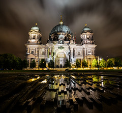Berliner Dom (Mish_123) Tags: travel reflection berlin church architecture night contrast reflections germany deutschland long exposure cityscape cathedral dom explore blocks exploration hdr berliner mikhail doudy