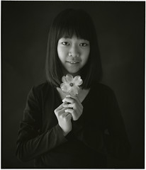 MOMO (Tamakorox) Tags: family light shadow portrait flower art love film girl japan japanese spring asia fuji kodak daughter   tmax400 bw pleasure     analoguecamera    mamiyarb67prosd americandogwood