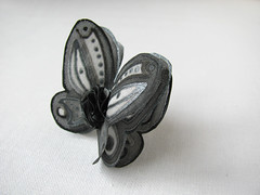 ring with a black grey silk butterfly (simutes) Tags: black flower set butterfly grey brooch silk jewelry ring silkpainting blackbutterfly blackflower greyflower greybutterfly blackbrooch silkflowerbrooch
