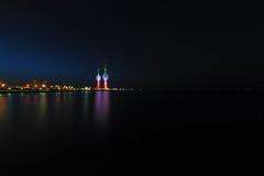 Kuwait Towers (mclcbooks) Tags: longexposure water night reflections landscape lights cityscape dusk le kuwaitcity kuwaittowers