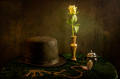 Half past one (Johnny_7) Tags: stilllife flower color colour green hat rose yellow keys key bell watch chain tophat butler vase pocket