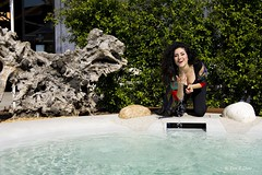 Smile (elisabeth_zh) Tags: woman black cute water girl beautiful beauty smile smiling amazing play outdoor happiness fresh doing brunette lovely flick springtime smilinggirl cocooning playwithwater