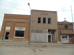 89. A collection of old buildings in downtown, like their stately bank and an abandoned general store, Randall, 3-27-18 (leverich1991) Tags: exploring kansas 2018 randall ghost town jewell