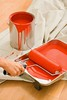 Stock Images (perfectionistreviews) Tags: indoors color vertical holding female woman bodypart caucasian hand painttray paintroller paintcan red painting supplies change interiordesign paint floor can dropcloth homeimprovement person renovate restoration roller interiordecorating bucket lifestylesandart