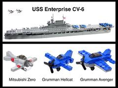 USS Enterprise CV-6 and combat aircraft 1:200 scale (LuisPG2015) Tags: grummanavenger grummanhellcat mitsubishizero cv6 enterprise lego