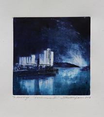 KORNKAMMER 2 w (Svein Erik Larsen) Tags: monotypi monoprint art print printmaking grafikk steinkjer trøndelag norge norway blå blue kornsilo silo grainsilo