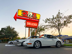 Cars and Burgers (chng8) Tags: apple iphone x seattle washington dicks drive in burgers holman road porsche 911 carrera 964 bmw 325i e30 mcoupe e368 clownshoe coupe grand prix white car neon sign usa