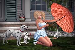 Vintage Fair - Practicing Marilyn (lauragenia.viper) Tags: arte euphoric gfield gdtheitalianstyle imageessentials izzies jian lenore mutresse palegirlproductions secondlife secondlifefashion tukinowaguma vintagefair warpaint mutress catwa catya bento maitreya avatar virtual cgi secondlifemodel sexy cute braids retro vintage romper polkadots umbrella animal pet dog dalmation puppy heels choker makeup marilynmonroe pose outdoor portrait makeascene apples basket kaerri