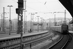 Loneliness (anechoic_photos) Tags: filme loneliness saarbrücken germany hauptbanhof railway film ilford panf canoneos1n developing diy d76