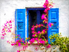 0995TS  Just Greece (2) (foxxyg2) Tags: art topaz topazsoftware topazstudio bue white red greece simplygreece bougainvillea flowers naxos cyclades greekislands islandlife islandhopping