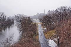Last snow of spring (beyondhue) Tags: ottawa city river parliament beyondhue spring snow falling fall path victoria island gatineau quebec ontario canada