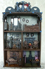 Handmade Corpse Bride dollhouse diorama (redmermaidwerewolf) Tags: tim burton corpse bride victor victoria dollhouse doll house mini figure toy shelf display unit shadow box shadowbox diorama miniature hand made home handmade craft cardboard clay painted furniture dolls