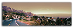 Home is behind you...the world ahead! (FotographyKS!) Tags: capetown campsbay southafrica cape beach sea sunset sunrise mountains tigerhill tablemountain nature natural road cars journey holiday tourist travel home houses lifestyle clouds warm photography panorama panoramic perspective modern culture capehorn capeofgoodhope digital nikondigital photoshop merging beautiful daylight outdoor kreative