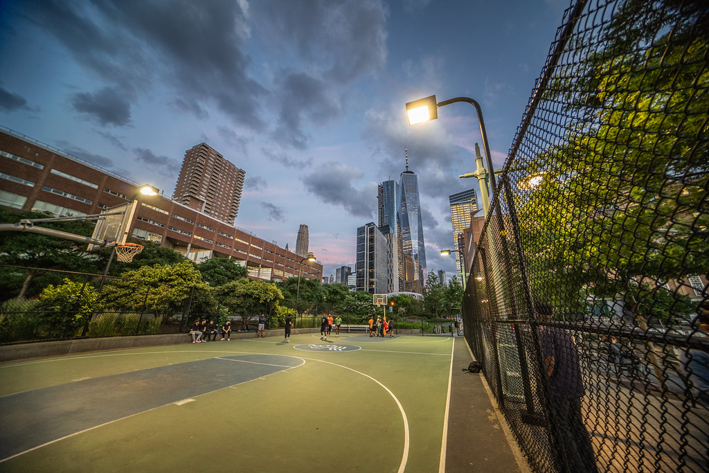 Snuck onto the court during the game to snap this photo of some downtown hoops in NYC.
