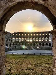 Window to the arena (aiva.) Tags: croatia istria pula hrvatska arena coloseum architecture sunset istra balkan coliseum amphitheater jadran adriatic ruins antic