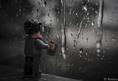 Let the rain fall down (Koeau) Tags: lego legography rain water window weather mug cup scarf orange black white reflex thunder lightning mood sad think drop