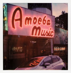 Amoeba Music Neon 1 (tobysx70) Tags: polaroid originals color 600 instant film slr680 amoeba music neon haight street san francisco california ca sign lit illuminated cds lps record shop store car reflection polavacation 042818 toby hancock photography