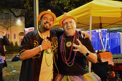 Brothers From Another Mother (BKHagar *Kim*) Tags: bkhagar mardigras neworleans nola la parade celebration people crowd beads outdoor street napoleon uptown night bro brother hat orange hats brunomars jim fun friendly